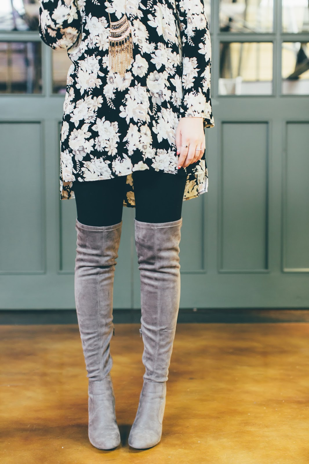 Thigh High Boots, Floral Tunic, Utah Fashion Blogger