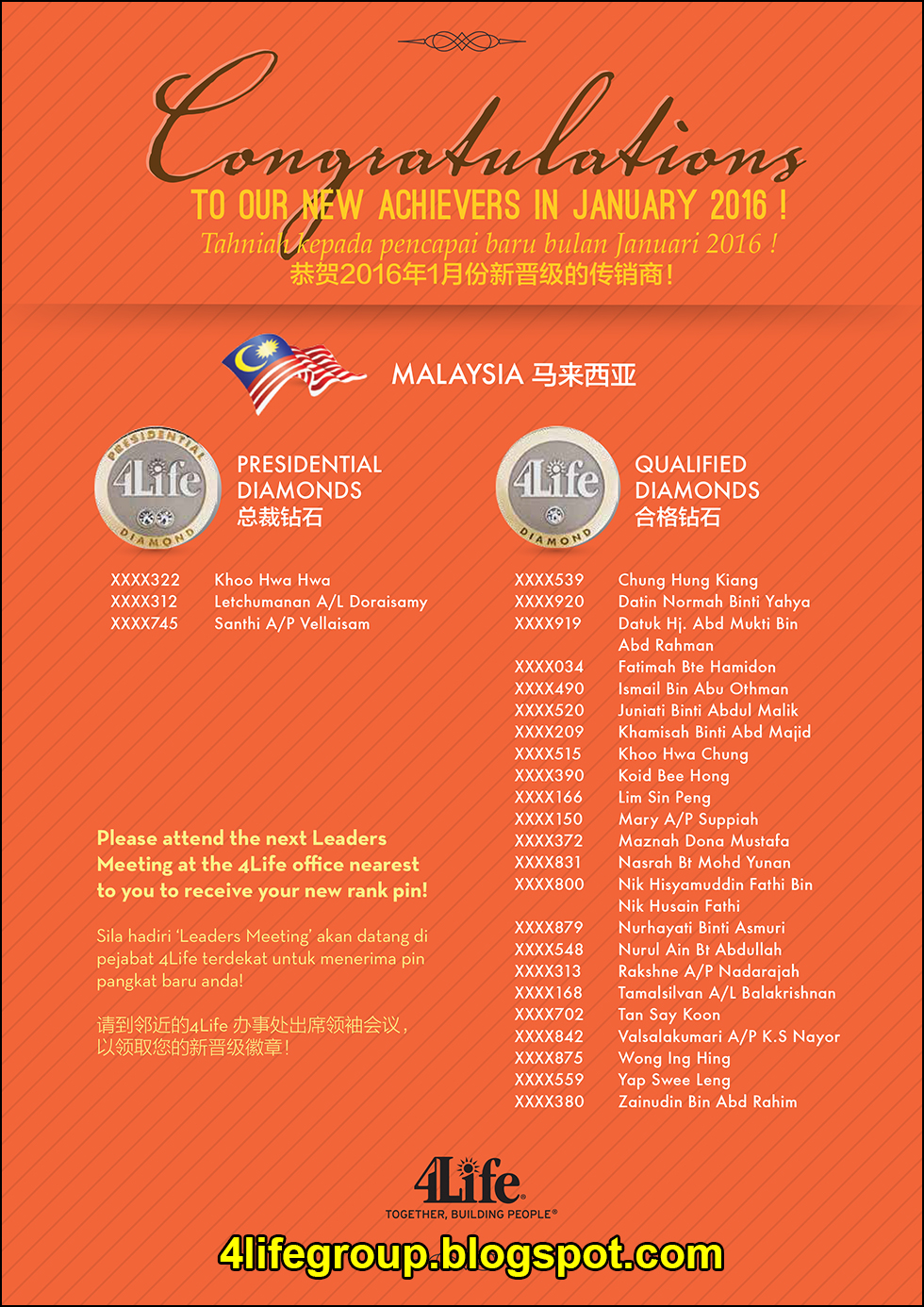 foto Pencapai Pangkat Baru Januari 2016 4Life Malaysia
