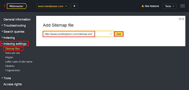blogger submit sitemap to Yandex