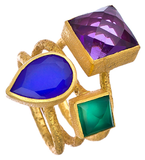 Kanupriya Amethyst Triple Gemstone Ring Set. Via Diamonds in the Library.
