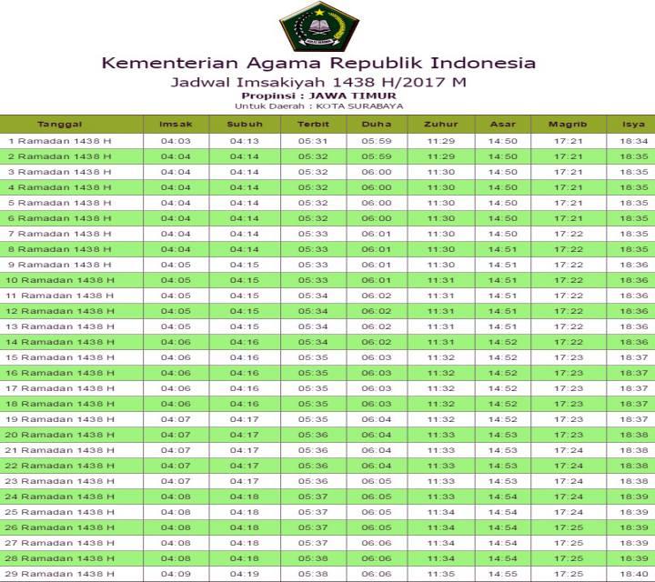 Jadwal Sholat bulan Ramadhan Mei - Juni 2017 Indonesia ...