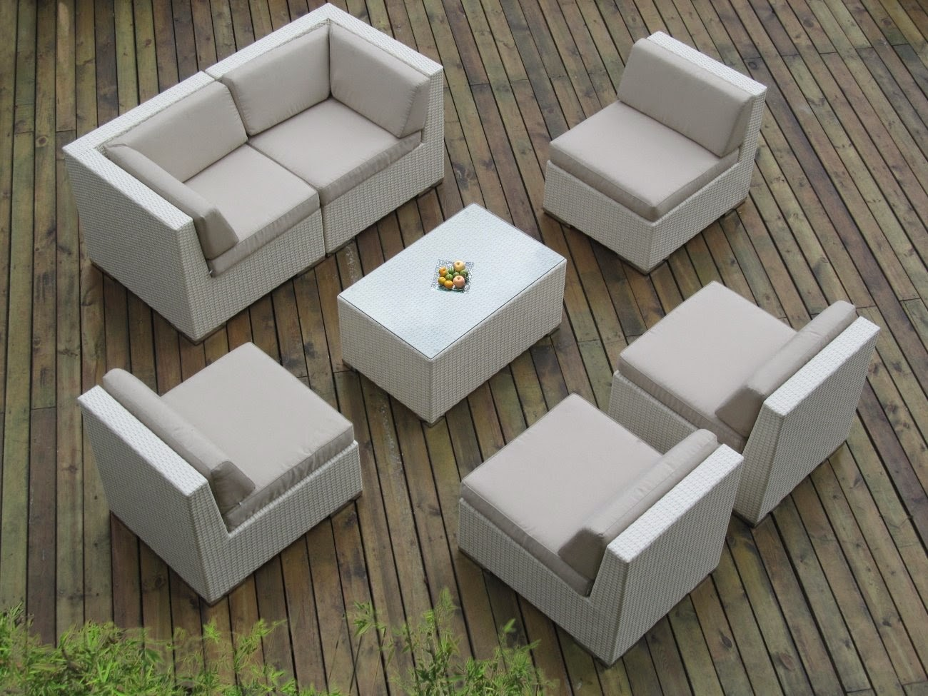 Ohana Collection PN0703AWT 7-Piece Outdoor Patio Sofa Sectional Wicker Furniture Couch Set, White