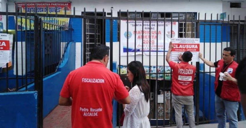Autoridades clausuran 100 locales educativos informales que operaban en 17 distritos de Lima