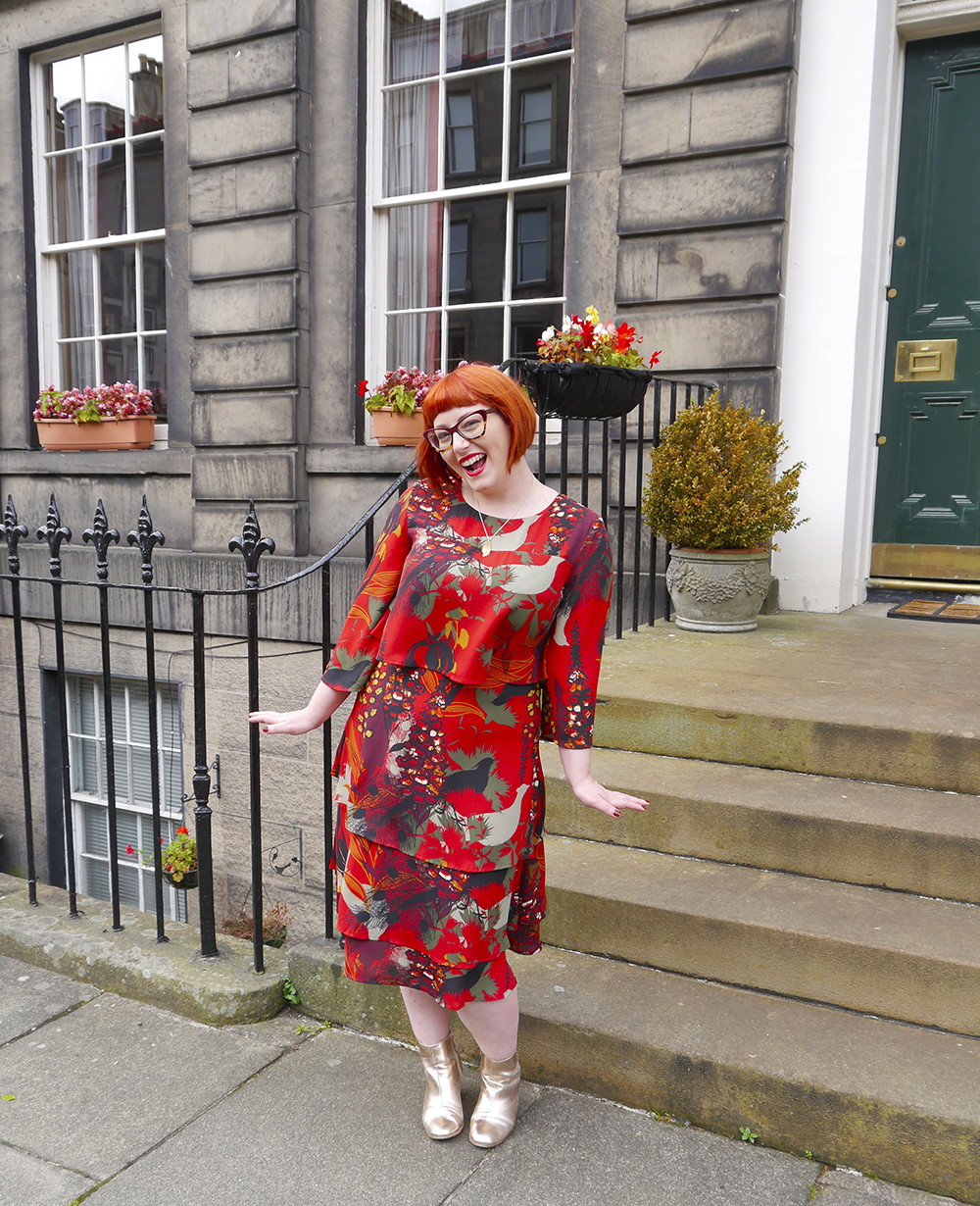 Scottish blogger Helen from Wardrobe Conversations gets dressed up in a red an orange patterned Biba dress from House of Fraser for Saturday at Edinburgh Cocktail Weekend