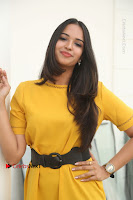 Actress Poojitha Stills in Yellow Short Dress at Darshakudu Movie Teaser Launch .COM 0152.JPG