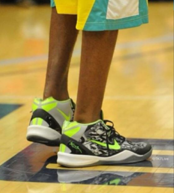"a8bb457d00f9 Here is images of kobe wearing a pair of his Nike Kobe 8 VIII Mid ""Graffiti""  Sneakers"