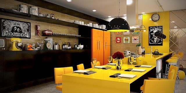 желтый остров и обеденный стол