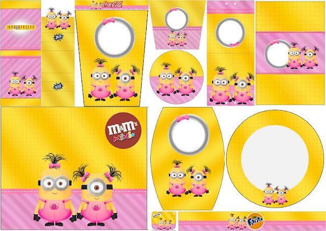 Minions Chicas: Etiquetas para Candy Bar para Imprimir Gratis.