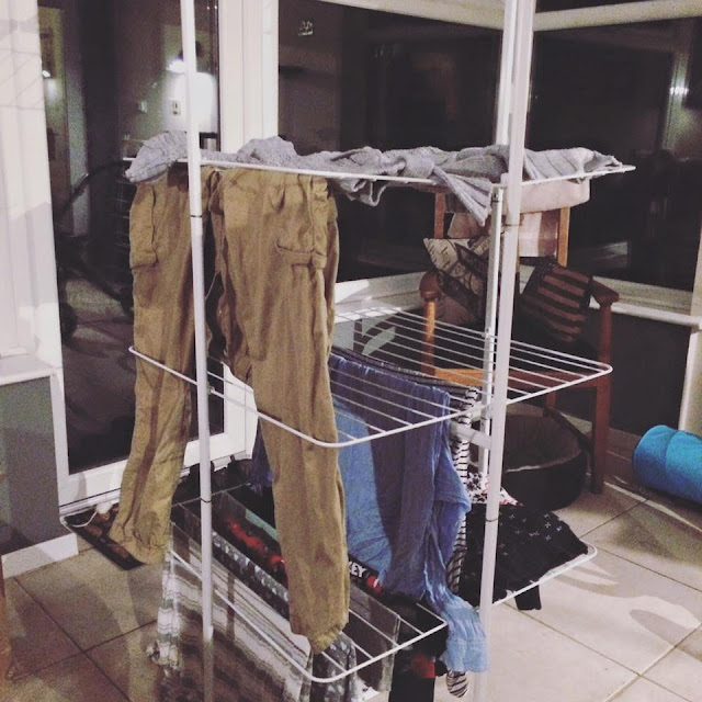 Large clothes airer, full of clothes
