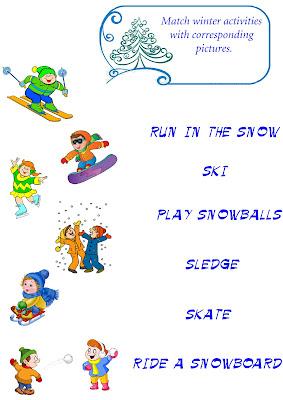 winter vocabulary worksheet, match words