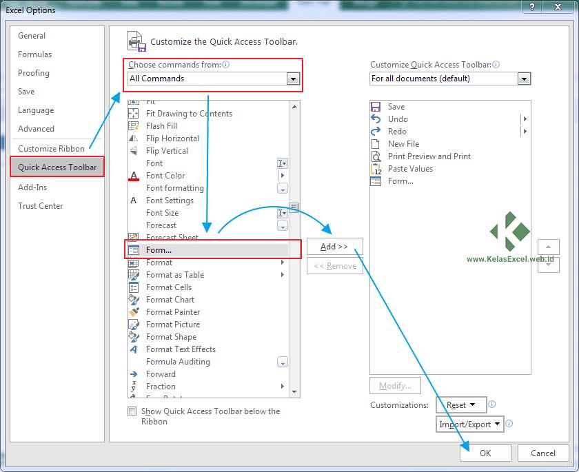 Cara Menampilkan Tombol Data Form Pada Quick Acces Toolbar (QAT)