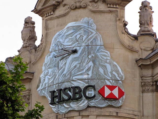 Clock, HSBC's headquarters, avenue des Champs Elysees, Paris