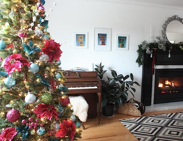 Pink and Blue Christmas tree decor
