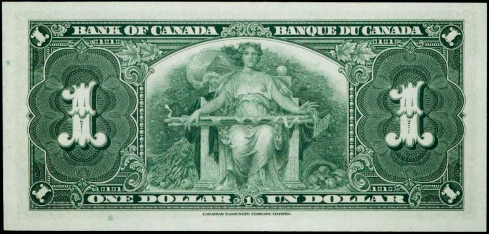 1937 Canadian one dollar bill note