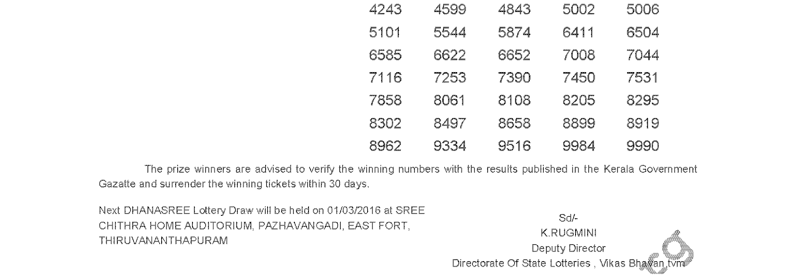 DHANASREE Lottery DS 225 Result 23-02-2016