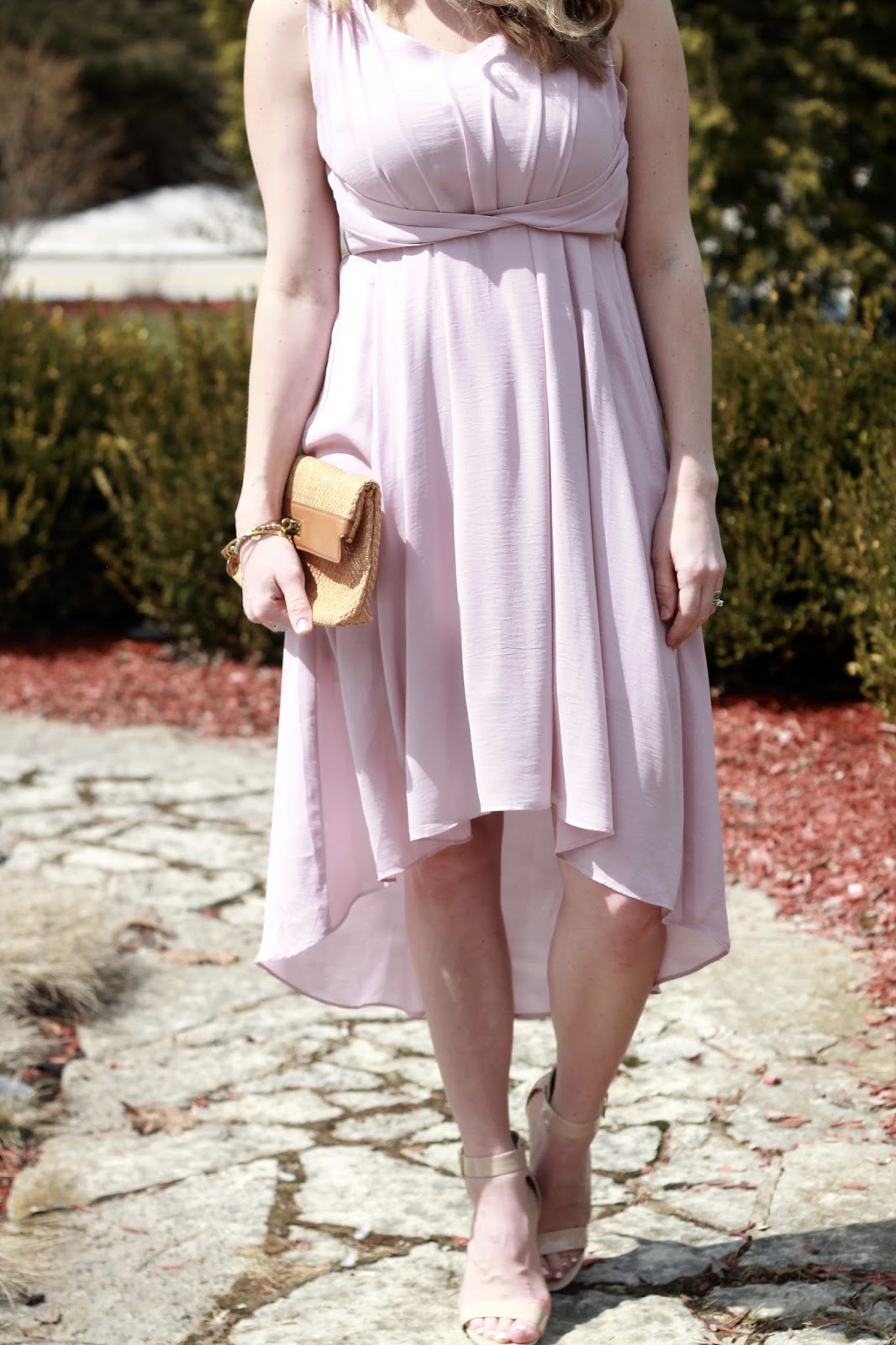 PinkBlush lavender high low dress, straw clutch