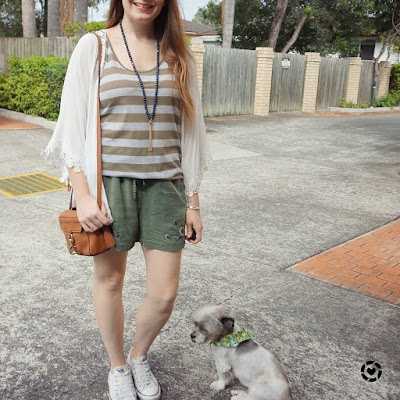 awayfromtheblue Instagram | two shades of green in one outfit striped tank and soft shorts kimono converse
