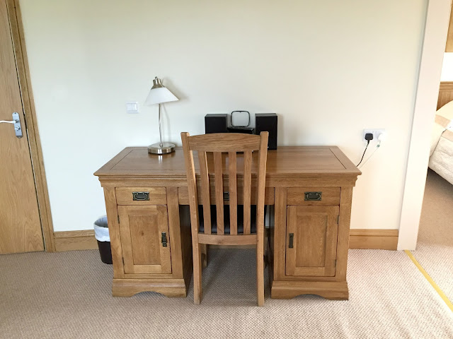 desk in suite at ox pasture hall hotel