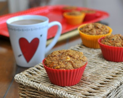 Hearty Heart Loving Muffins, moist, fruity muffins, all you want in a morning muffin. Whole-grain, low-sugar, no added fat plus carrots, apple and raisins and a surprise ingredient. For Weight Watchers, PointsPlus 4