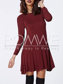 Red Long Sleeve Casual Dress