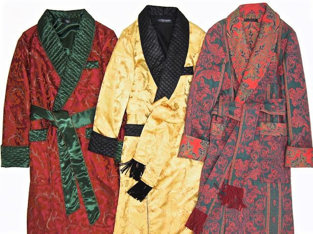 Men's luxury silk dressing gowns robes paisley quilted