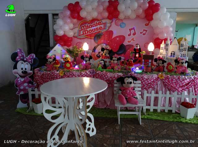 Decoração de mesa temática Minnie Rosa para festa de aniversário infantil - Recreio - RJ