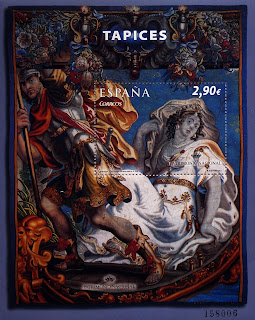TAPICES S. XVII. MATRONA Y GUERRERO EN UNA BARCA