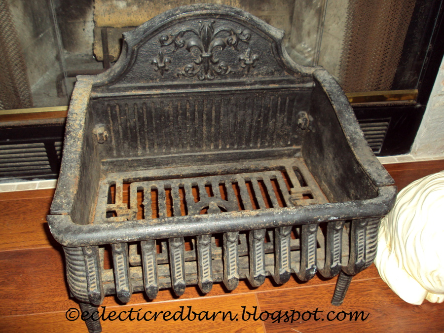 Eclectic Red Barn Antique Cast Iron Fireplace Grate