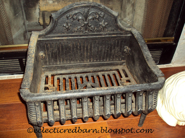Eclectic Red Barn: Antique cast iron fireplace grate