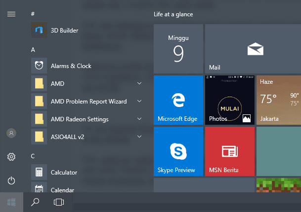 Start Menu Windows