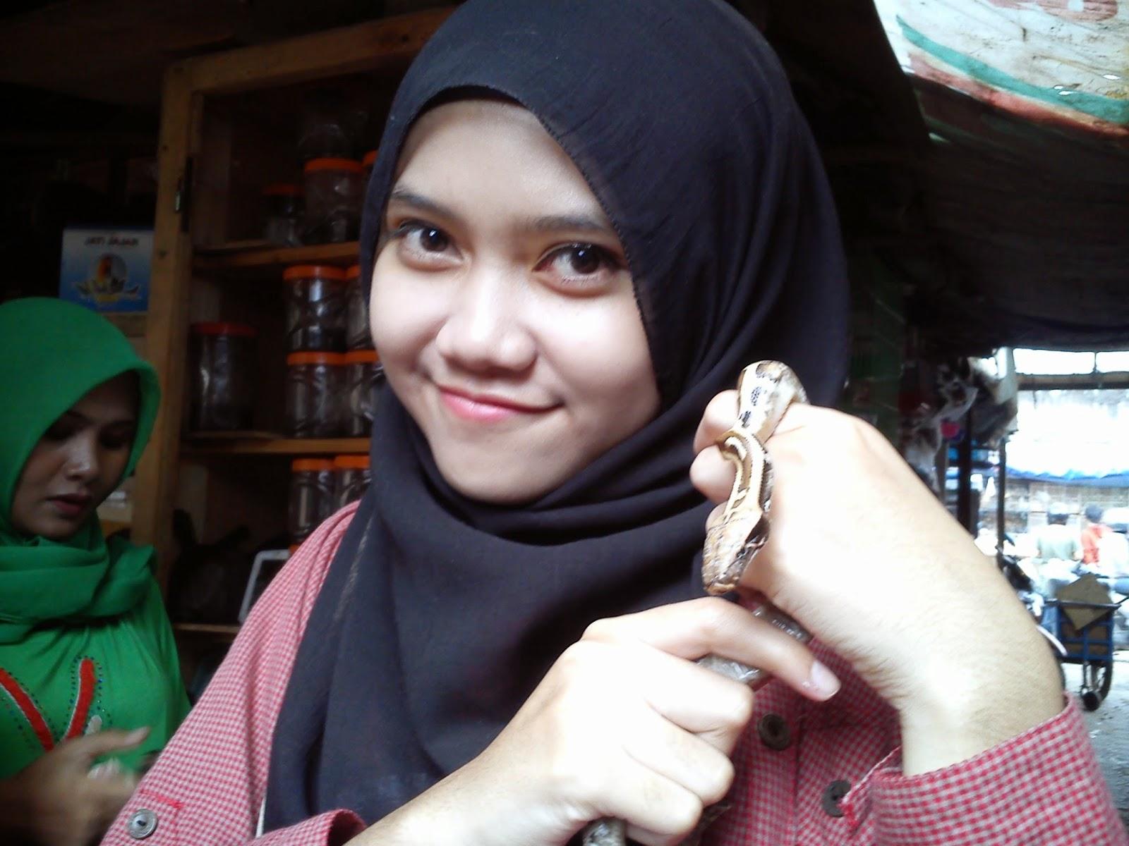 Berlagak seperti pawang Ular di Pasar Burung Sukahaji, Bandung.