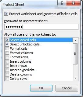 Mengunci atau membuka kunci area tertentu dari sebuah lembar kerja