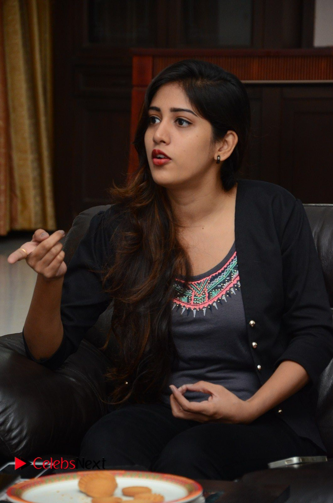 Actress Chandini Chowdary Pictures in Black Jeans at Interview  0175.JPG