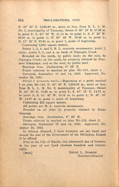 Proclamation No 193 s. 1928 English version, continued.
