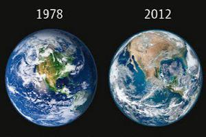 58a61a495 A nasa divulgou no dia 25 de Janeiro/2012 a foto mais recente da Terra, em  alta definição. Comparada com uma foto de 1978, ...
