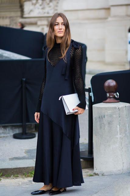 evening slip dress, mesh shirt