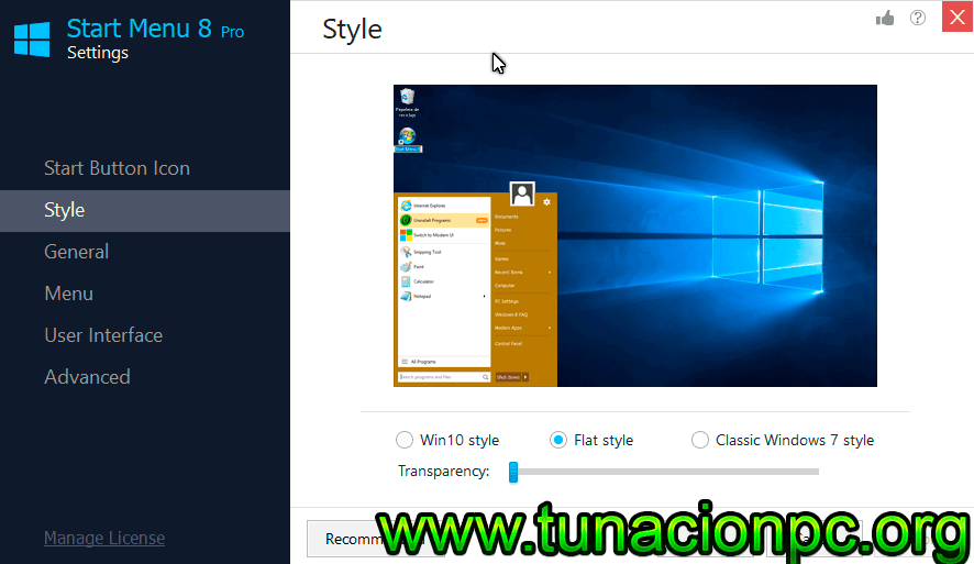 Obten el menu de inicio de windows 8 y 10 con IObit StartMenu 8 Pro con Licencias