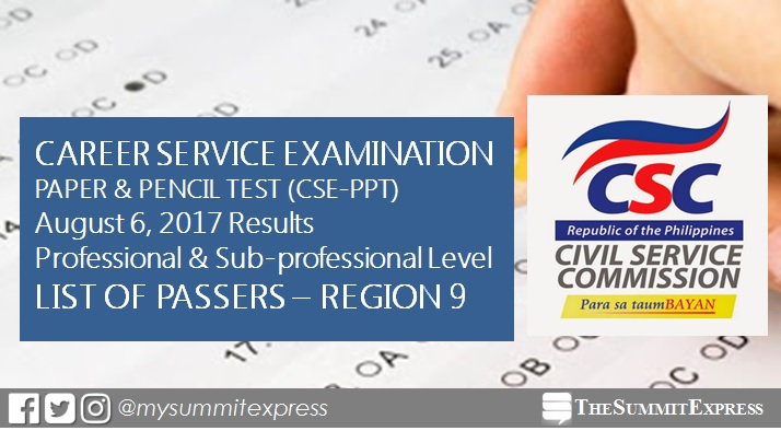 CSC releases Region 9 passers list August 2017 civil service exam CSE-PPT results