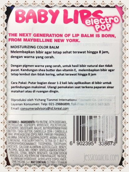 Review & Swatch : Maybelline Baby Lips Electro Pop by Jessica Alicia