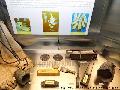 Sala do Ouro do Museu da Moeda no Banco Central do Brasil - BCB. Materiais utilizados refinar o ouro