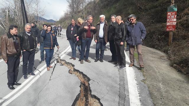 Επιστήμονες του ΙΓΜΕ επισκεφθηκαν τις ζημιές στους δρόμους του Ταϋγέτου
