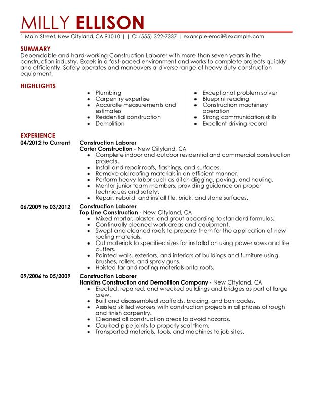 construction worker resume sample - Construction Worker Resume Objective