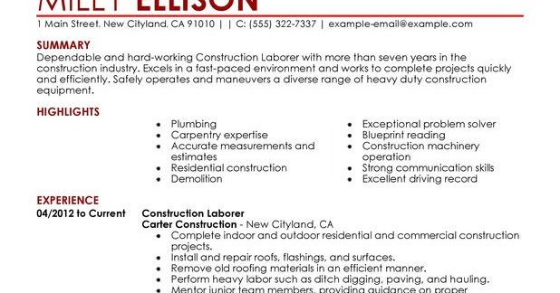 sample of a construction worker resumes