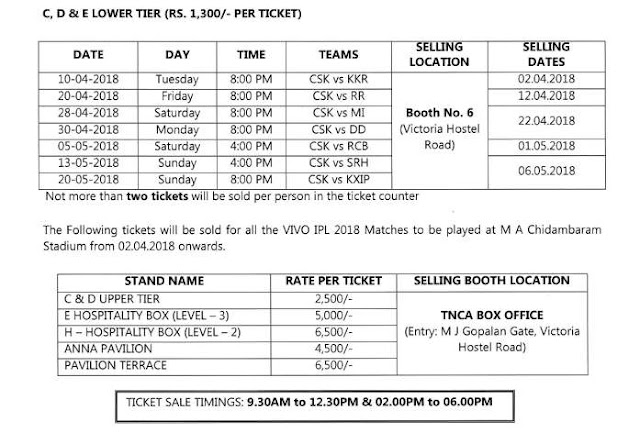 Chennai Super Kings Offline Ticket Booking M.A.Chidambaram Chennai Cost and Price List IPL 2018