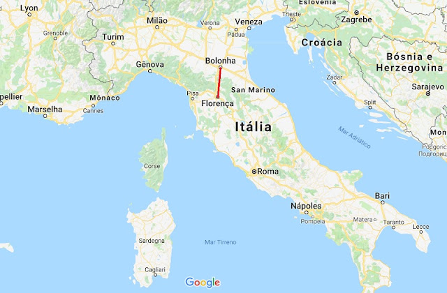 Mapa da viagem de Florença a Bolonha