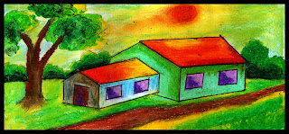 how to draw a scenery of village step by step color painting