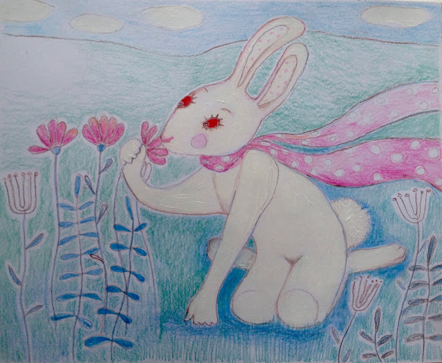 rabbit hare white pink flowers illustration drawing