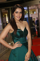 Raashi Khanna in Dark Green Sleeveless Strapless Deep neck Gown at 64th Jio Filmfare Awards South ~  Exclusive 098.JPG