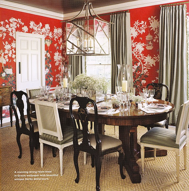 chinoiserie chic the red chinoiserie dining room. Black Bedroom Furniture Sets. Home Design Ideas