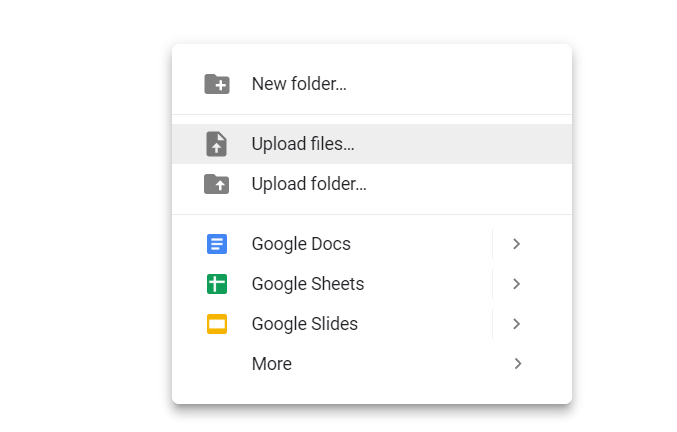 Upload your file(s) to your Google Drive.